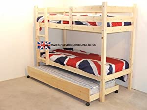 Bunk Bed with Guest Bed - 3ft Single bunkbed with pull out trundle - Includes 3x 20cm QUILTED mattresses