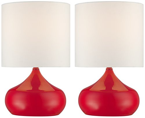 Set Of 2 Steel Droplet Cherry Red Small Accent Lamps front-1049426