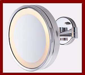 large 10 chrome lighted makeup mirror 5x for make up. Black Bedroom Furniture Sets. Home Design Ideas