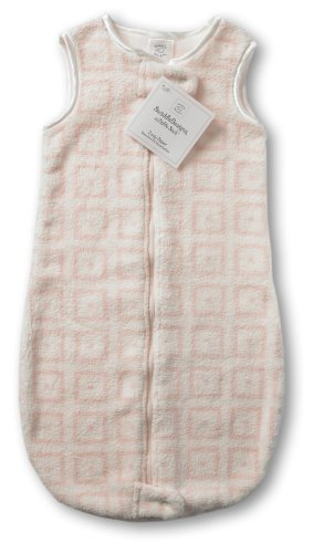 SwaddleDesigns zzZipMe Sack - Very Light Pink with Pastel Pink Mod Squares, 3-6 Months