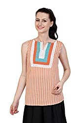 Aana White Aana Dobby Kurti-Medium
