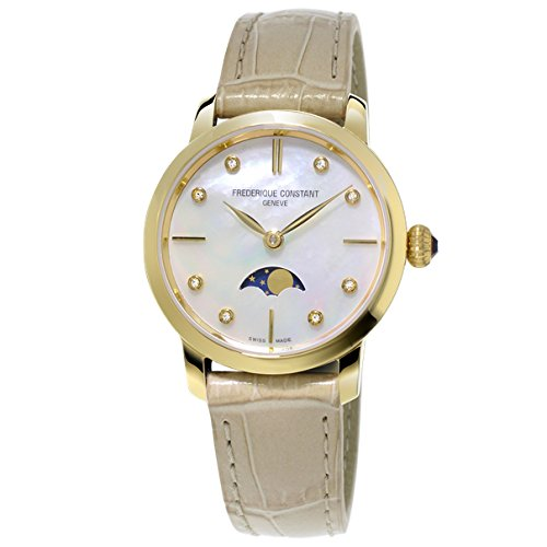 Frederique Constant Slimline Moonphase FC-206MPWD1S5 30mm Diamonds Gold Plated Stainless Steel Case Beige Calfskin synthetic sapphire Women's Watch