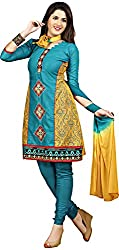 Raahi Unstitched Blue Cotton Printed Dress Material - Salwar Suit
