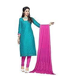 Stylowoman Un-stitched Cotton Cambric Dress Material Free Size Blue
