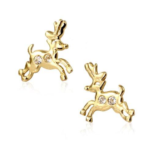 14k Yellow Gold Deer CZ Stud Earring