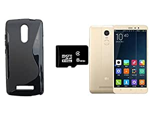 Xiaomi Redmi Note 3 Transparent SOFT Back Case Cover with Screen Gurd and 8 GB Memory Card