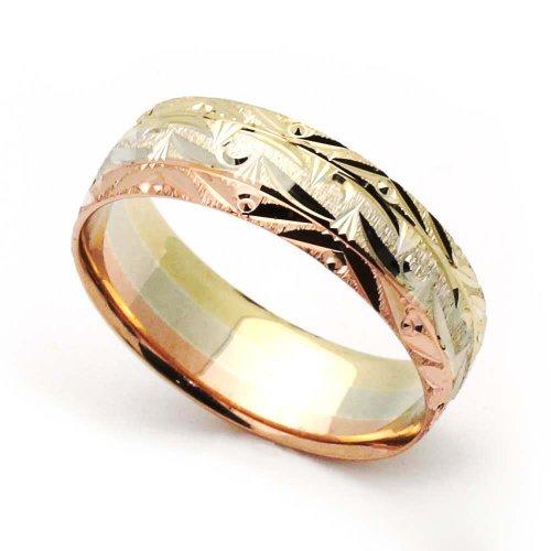 Little Treasures 14 ct Tri-Color Gold 3MM Diamond Cut Wedding Band