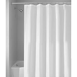 InterDesign Mildew-Free Water-Repellent Fabric Shower Curtain, 72-Inch by 96-Inch, White