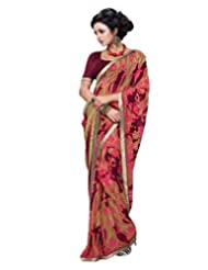 Inddus Exclusive Women Georgette Maroon Saree With Lace Border Work - B00NIQHNXK