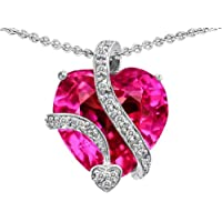 Original Star K (tm) Large 15mm Heart Shaped Created Pink Sapphire Love Pendant in .925 Sterling Silver