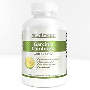 Garcinia Cambogia Extract 60% Pure HCA - 1000mg Per Serving Plus Premium 100% Natural Weight Loss Supplement Appetite Suppressant for Men and Women - No Fillers - Organic - Dual Action Fat Buster - 180 Capsules - 100% Satisfaction Money Back Guarantee