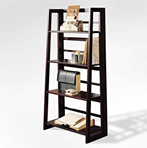 Dolce 4-Shelf Folding Bookcase - Dark Walnut