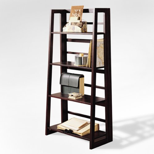 Cheap dolce 4 shelf folding bookcase dark walnut sale Folding bookshelf