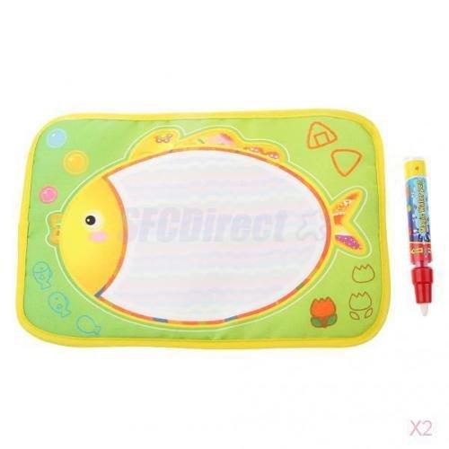 2x Cute Fish Theme Water Painting Drawing Mat Board with Magic Pen Kids Toys bbkub