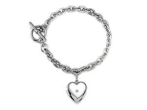 Sterling Silver Heart Charm Locket Toggle Bracelet