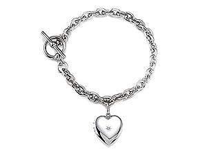 Sterling Silver Heart Charm Locket Toggle Bracelet