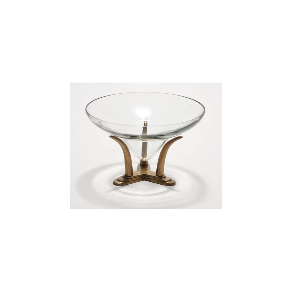 DDI M2 29308A Large Lead Crystal Glass Bowl with an Antique Brass Finish Tusk Base Kitchen & Dining
