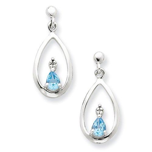 Sterling Silver SW Blue Topaz & Diamond Post Earrings