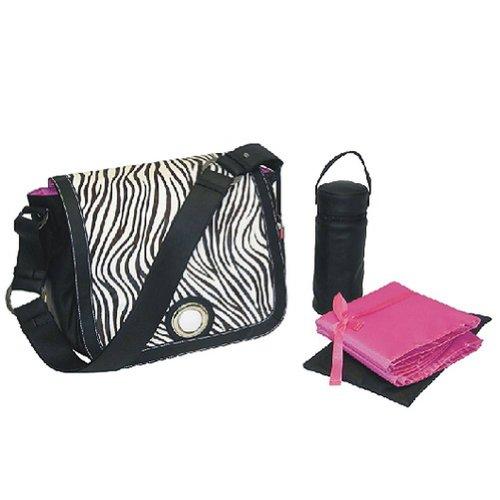 Kalencom Black Zebra Print Diaper Bag Tote Gift Set