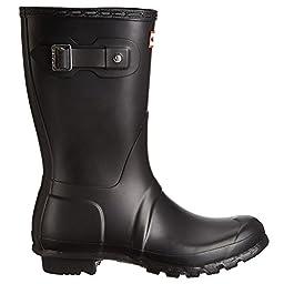 Hunter Original Short Matte Women\'s Rain Boot Black 9 M US