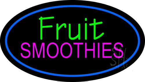 """Fruit Smoothies Oval Blue Outdoor Neon Sign 17"""" Tall X 30"""" Wide X 3.5"""" Deep front-606532"""