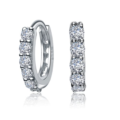 Charming Sterling 925 Silver Huggie Earrings Featuring Round Cut CZ Diamonds in Prongs - Incl. ClassicDiamondHouse Free Gift Box & Cleaning Cloth