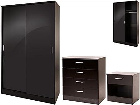 High Gloss 3 Piece Bedroom Furniture Set with Sliding Door Wardrobe - Ottawa Caspian SUPREME Range (Black)