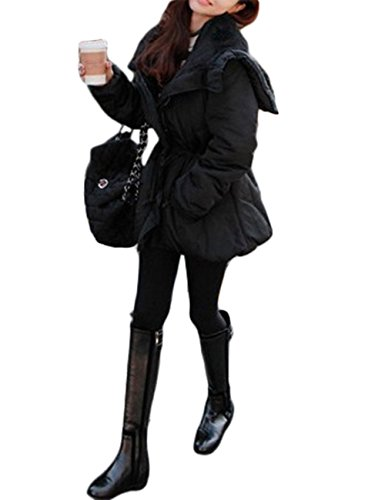 dragonpad-womens-hooded-vans-drawstring-slanting-pocket-zipper-heavy-padded-coat-black-m