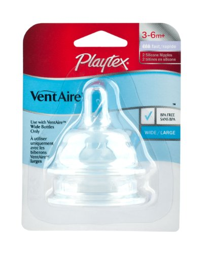 Playtex Playtex VentAire Wide (NaturalShape) Silicone Nipples - Fast Flow - 2 Pack (Discontinued by Manufacturer)