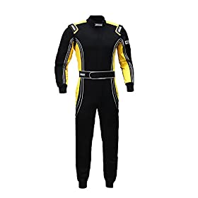 jxhracing RB-CR014 One Piece Auto Go Karts Racing Suit Yellow XX Large
