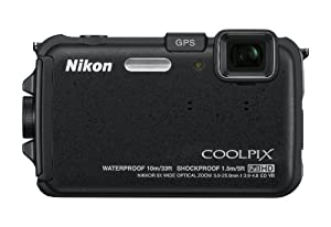 Nikon COOLPIX AW100 16 MP CMOS Waterproof Digital Camera with GPS and Full HD 1080p Video (Black)