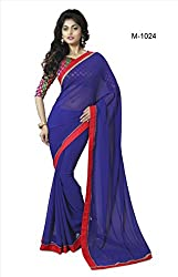 Sk Creation Fabulous Blue Lace Bordered Party Wear Saree