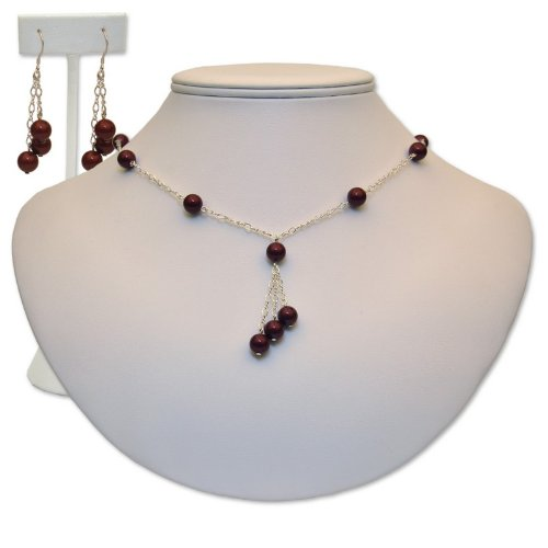 Genuine Swarovski Crystal Royal Necklace and Earrings Set, Maroon, 16
