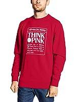 "THINK PINK Sudadera Felpa Basic Uomo""Think Pink""Cotone Slub Con Grande Stampa Centrale Sfumata (Rojo)"