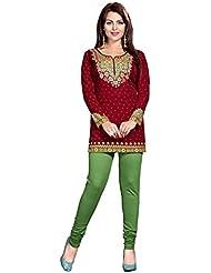 Lakshminarayan Creation Amarican Crepe Red Printed Short Kurti Without Leggings