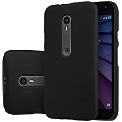 Nillkin Super Frosted Shield Back Case Cover for Moto G3 (3rd Gen) XT1550 - Black with Screen Guard