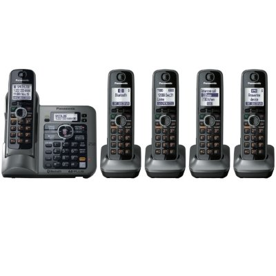 Panasonic Kx-Tg155Sk Dect 6.0 Link-To-Cell Via Bluetooth Cordless Phone With Answering System, Metallic Gray, 5 Handsets front-60091