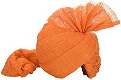 Jodhpuri Fashions Mens Cotton Turban (Saffron, 9 Meters)