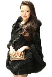 Ferrand Women's Large Real Genuine Raccoon Fur Hooded Cape Shawl Stole Jacket Poncho