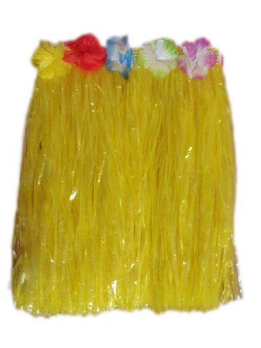 (Price/6 Pieces)15.5 Inch Long Adult Grass Skirt, Flowered Hula Skirt-Yellow