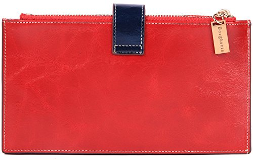 Borgasets Women's Weave Genuine Leather Zipper Wallet Red