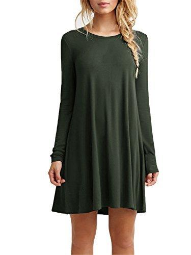 Women's Plain Cute Simple Tshirt Dress (M, Green) (Teen Girl Clothes Cheap compare prices)