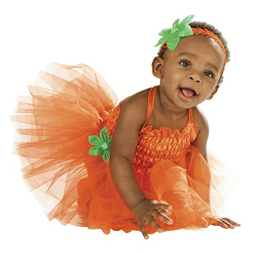 Infant Girls Pumpkin Tutu Costume with Dress & Headband