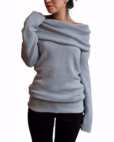 ZANZEA-Femme-Sexy-Pull-Tricot-Epaule-Nue-Manches-Longues-Slim-Jumpers-Sweater-Hauts-Sweatshirt
