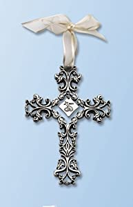 25th Anniversary Cross Ornament - Traditional 25th Wedding Anniversary Gift Idea