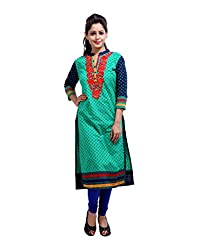 Beautiful Green Kurti Cotton Embroidered Floral Large For Ladies By Rajrang