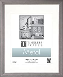 Timeless Frames Beaded Photo Frame, 11 by 14-Inch Matted to 8 by 10-Inch, Metal Silver