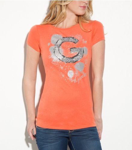 G by GUESS Sara Splatter Tee ORANGE SMALL