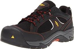 KEEN Utility Men\'s Albany Composite Toe Work Shoe,Black/Bossa Nova,11.5 2E US