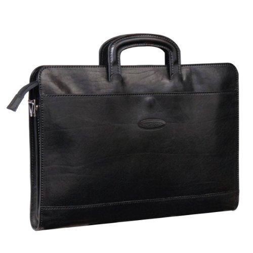 Maxwell Scott: Barolo - Business Conference Folder, Luxury Italian Leather, Night Black
